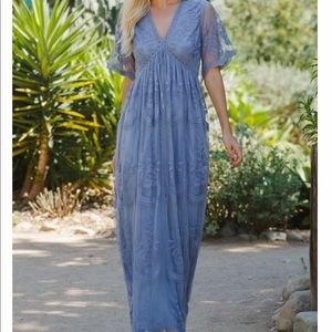 Brand new with tags, dusty blue maxi lace dress